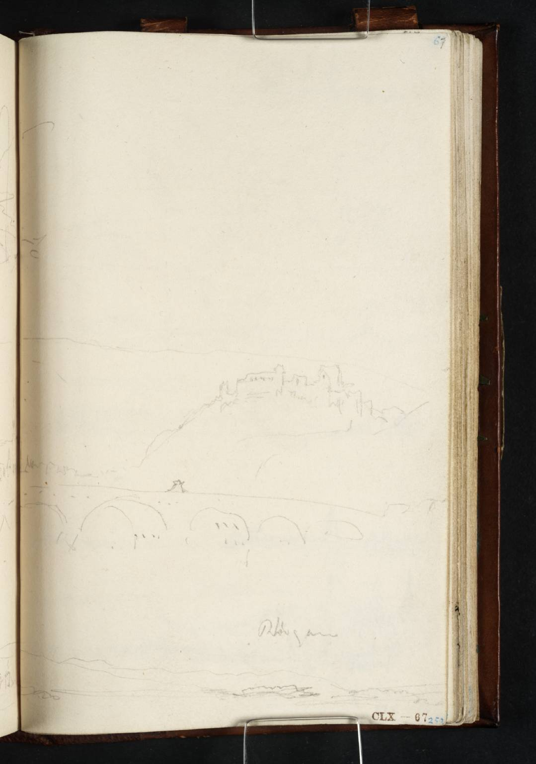 Joseph Mallord William Turner; (1) The Drusus Bridge over the Nahe, Looking down the Nahe to Bingen at its Confluence with the Rhine; on the Hillside, Burg Ehrenfels and Burg Klopp; (2) View from Bingen across the Rhine to Rüdesheim, the Johannisberg and the Rheingau 1817