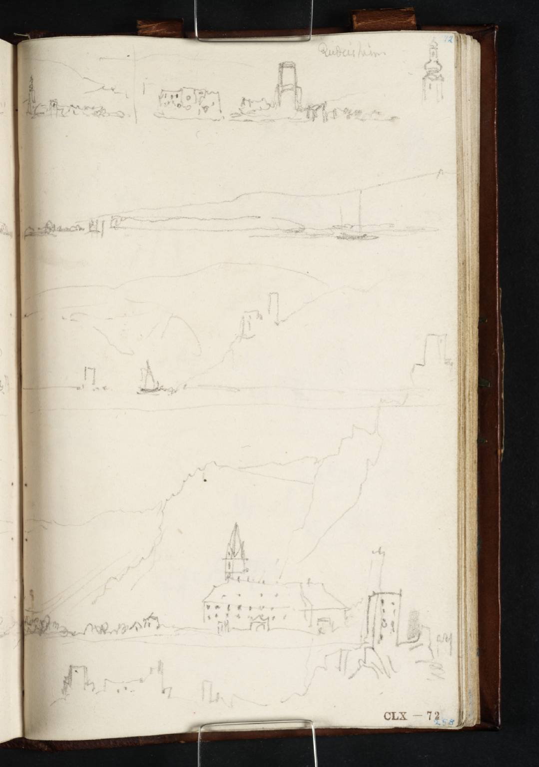 Joseph Mallord William Turner; Views Downstream from Mid-River: (1) to Bingen and Rüdesheim (Sketch of R?ºdesheim to Right); (2) to St Roch's Chapel, Bingen and R?ºdesheim; (3) to Burg Klopp, Bingen, the Ma?ºseturm and Burg Ehrenfels; (4) to the Church at Bornhofen and 'The